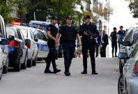 Riot police outside the Israeli embassy inAnkara