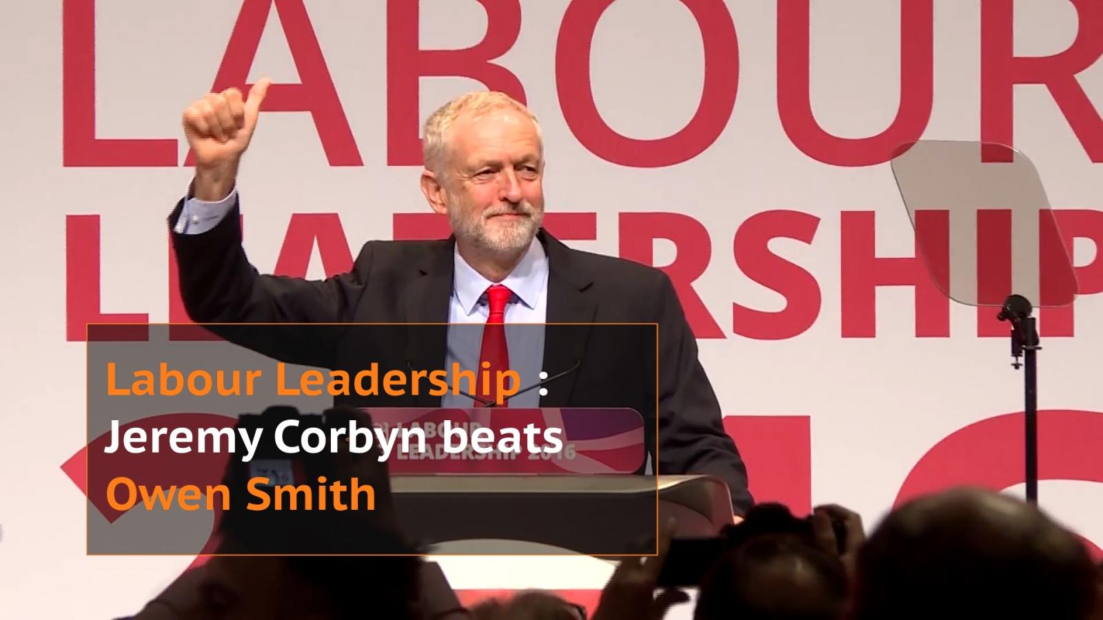Jeremy Corbyn celebrates leadership victory