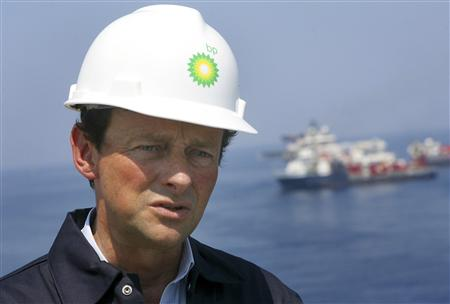 File photo of BP CEO Hayward taking a first hand look at the recovery operations aboard the Discover Enterprise drill ship in the Gulf of Mexico