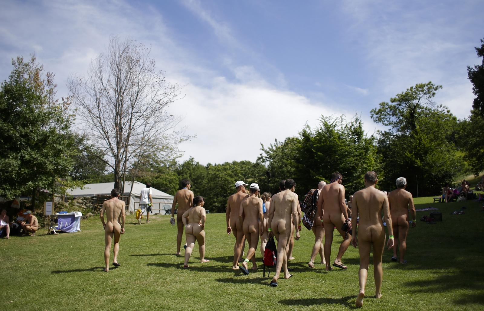 Nudists enjoy the sun in Italy