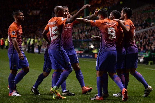 Manchester City celebrate their equaliser