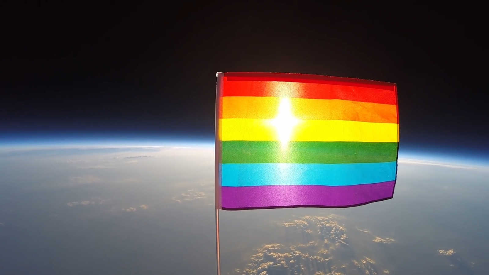 LGBT flag marks space 'Gay-friendly' after being sent into stratosphere on a high-altitude balloon