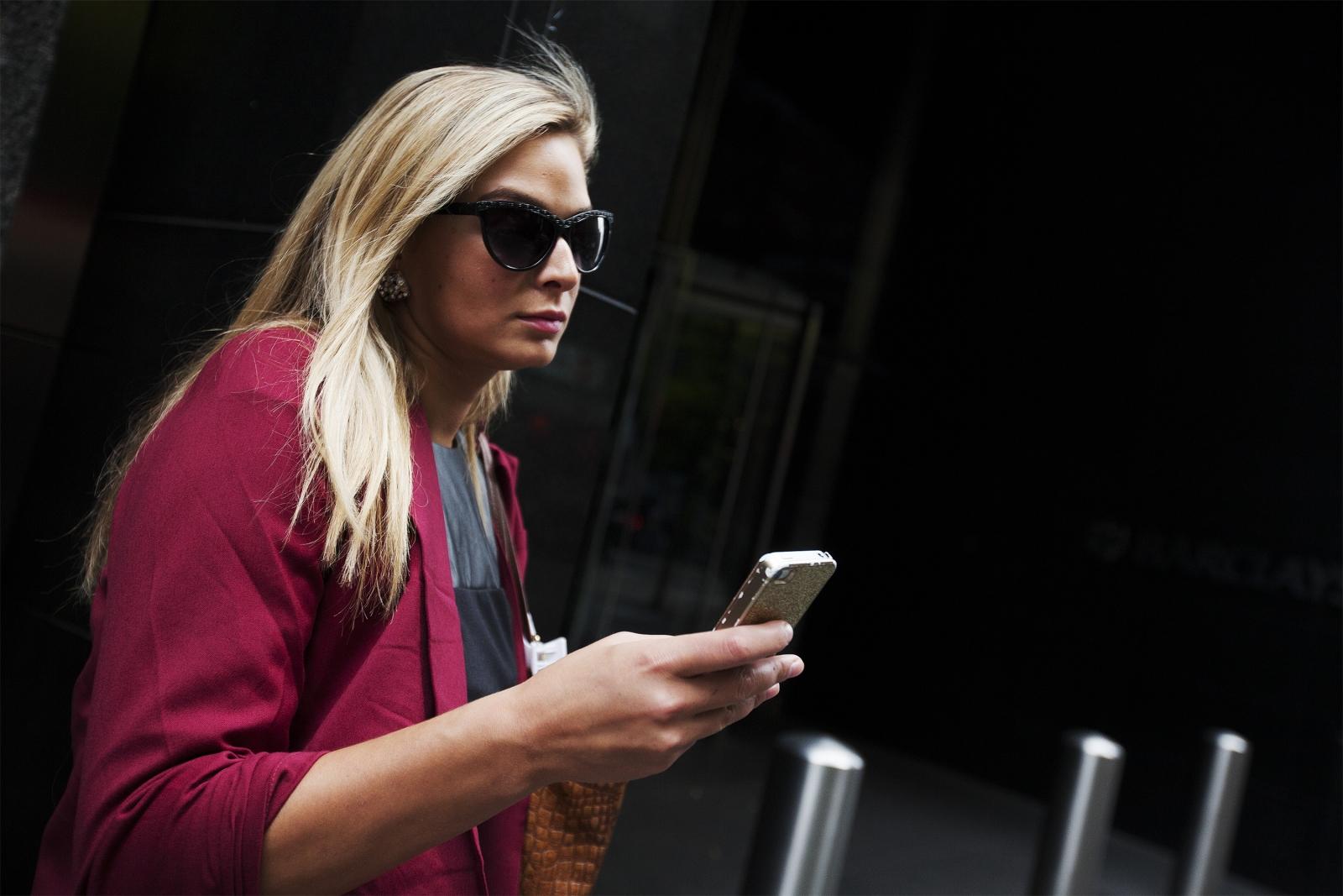 Woman using an iPhone