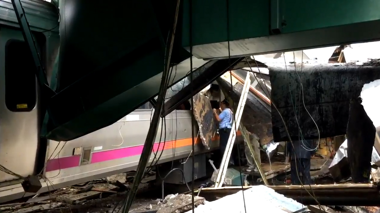 Hoboken train crash video from inside