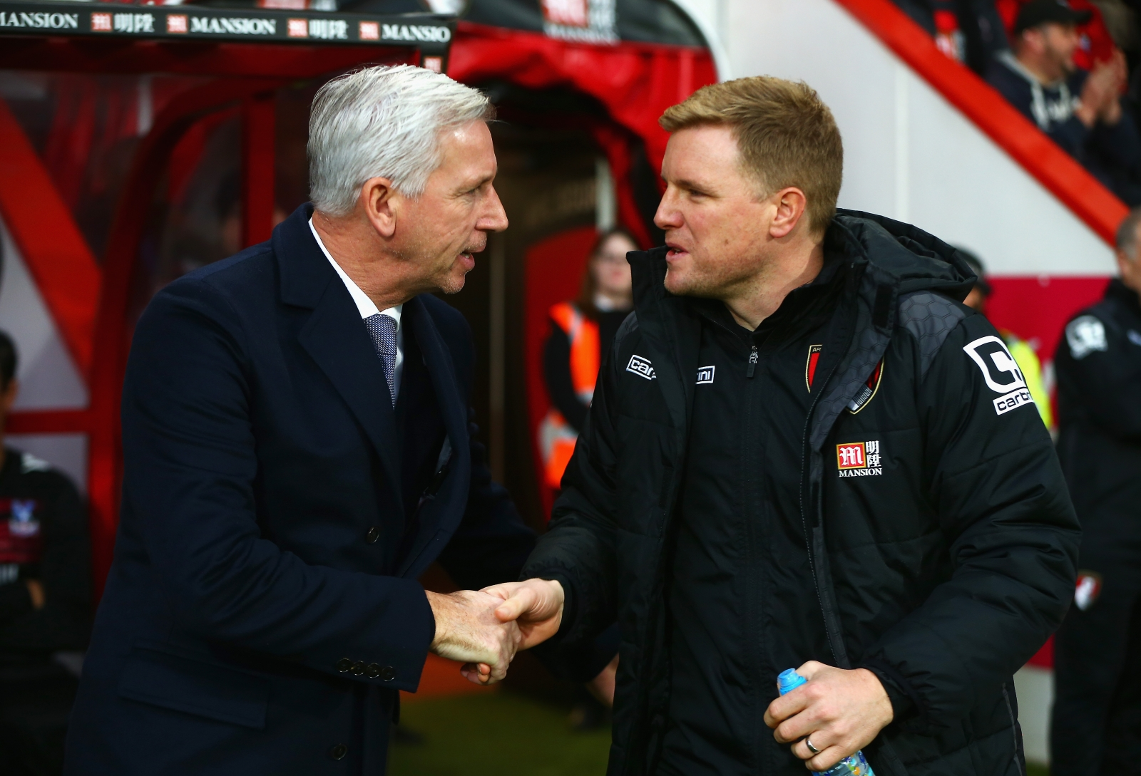 Alan Pardew and Eddie Howe