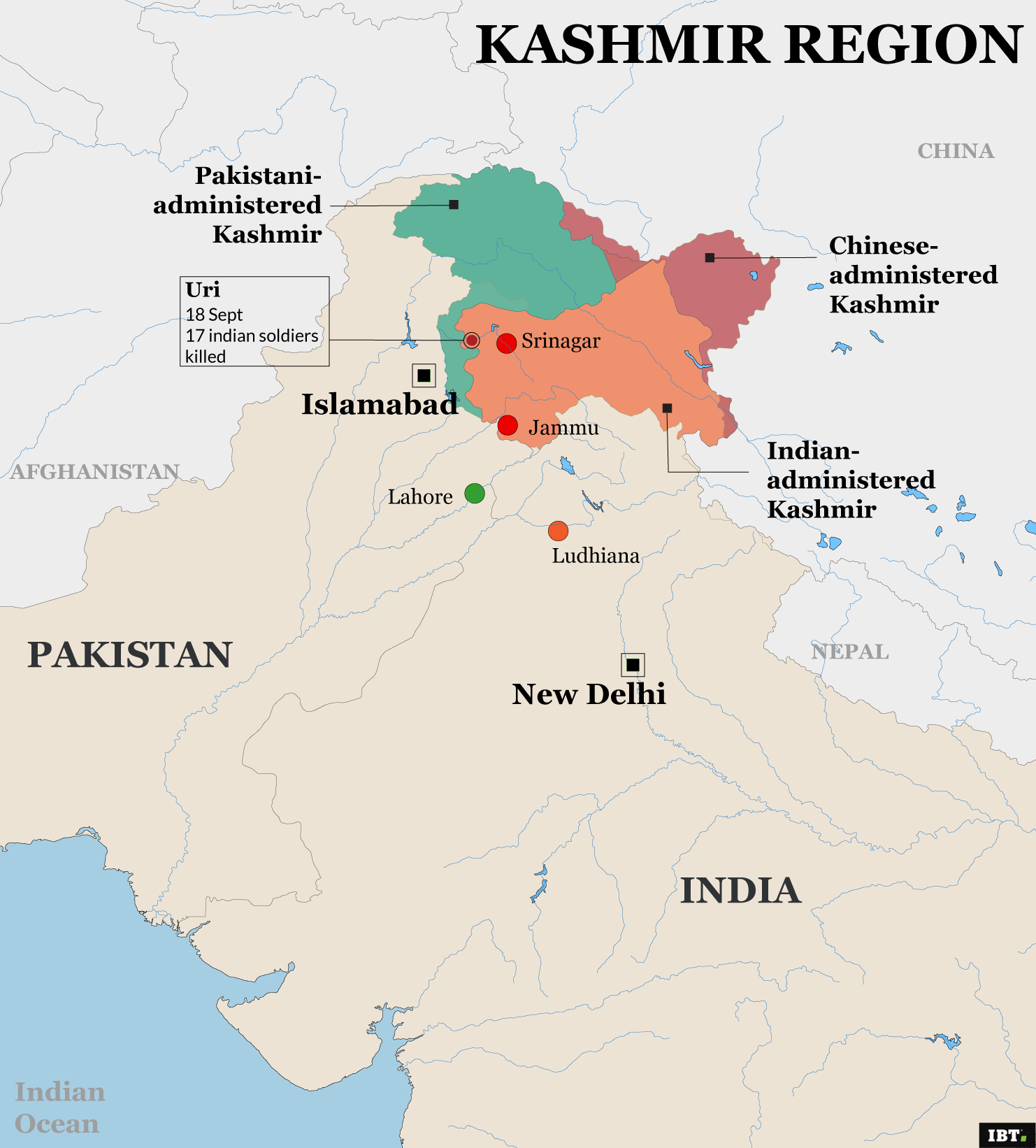 Kashmir region and disputed areas