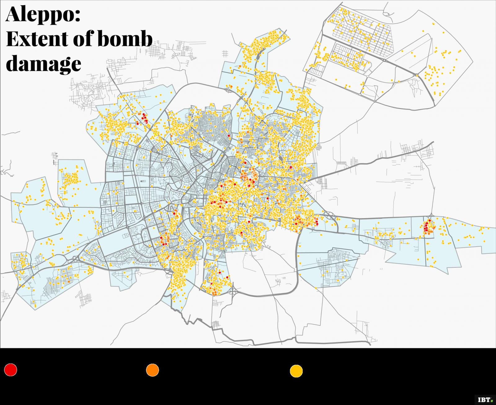 Aleppo: extent of bomb damage