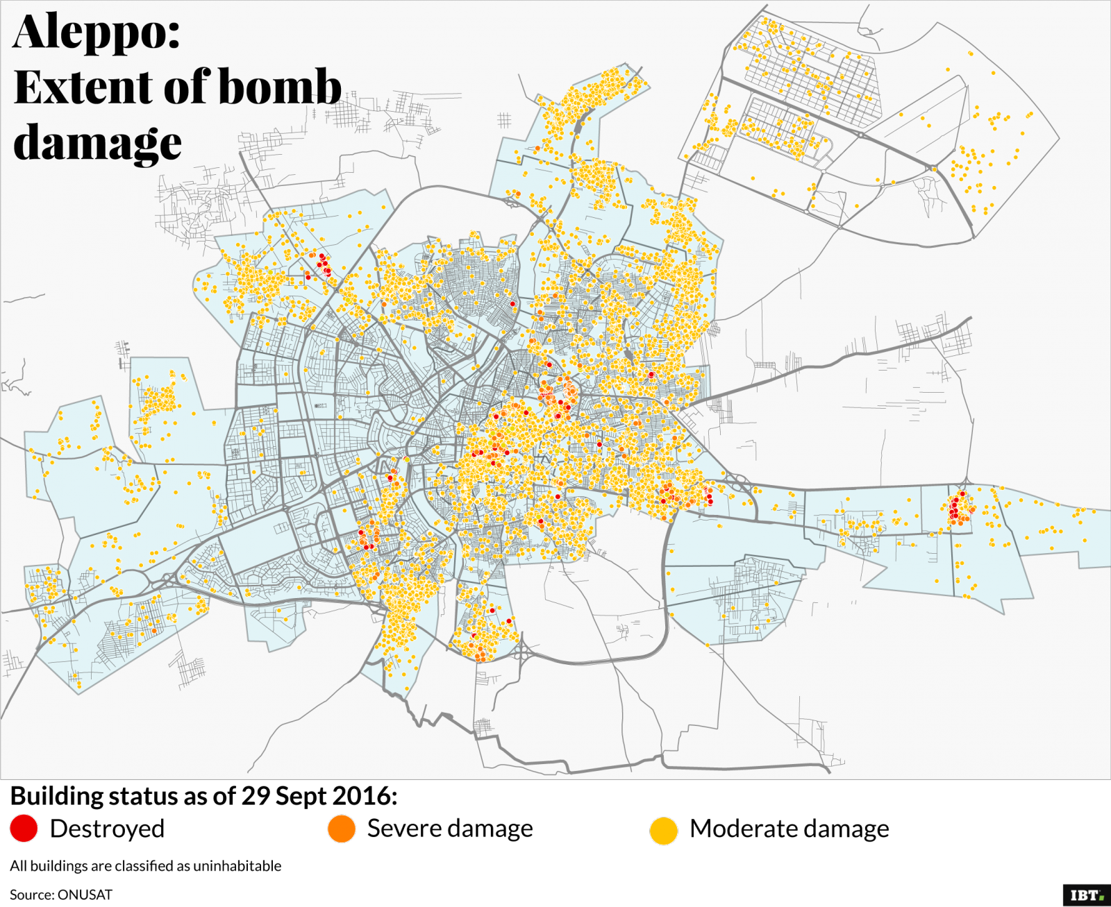 Aleppo: extent of bomb damage