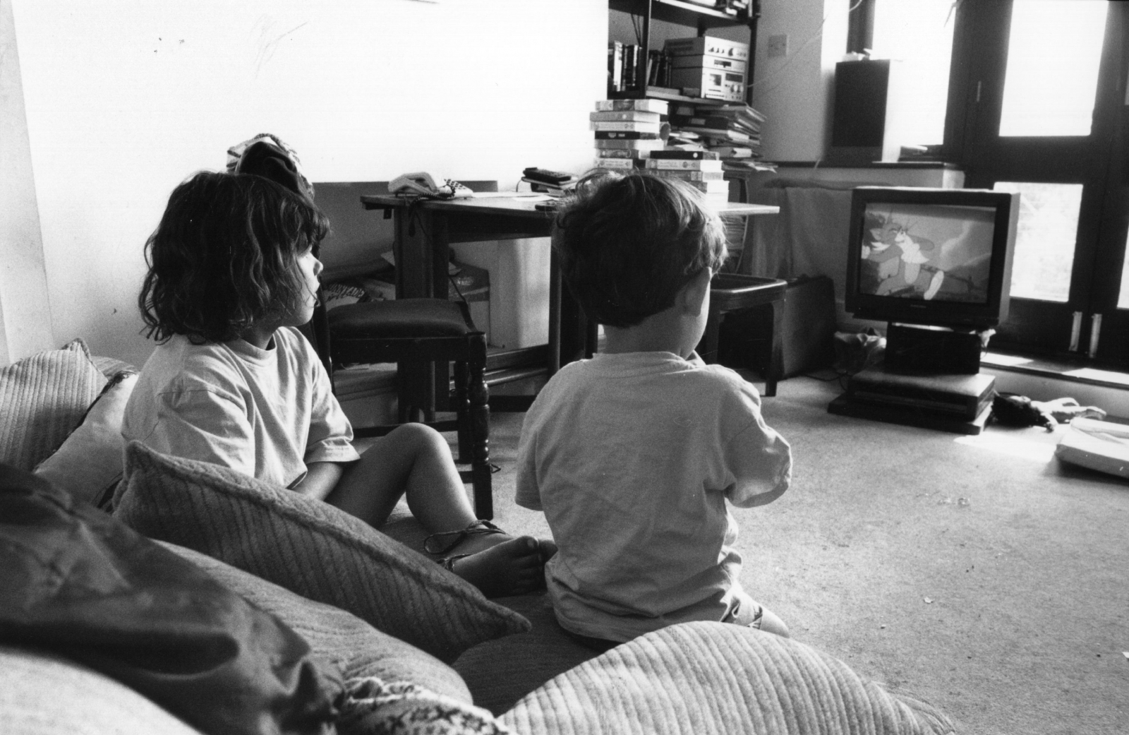 Children watching TV