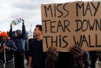 Protestors at Calais Jungle camp 1 Oct