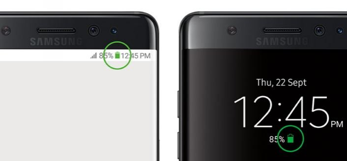Galaxy Note 7 green battery icon