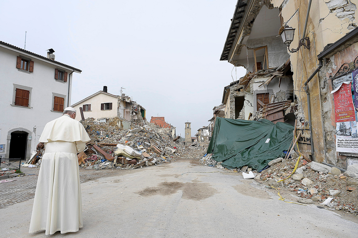 Pope visits Amatrice