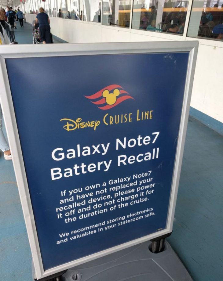 Galaxy Note 7 ban on cruise lines