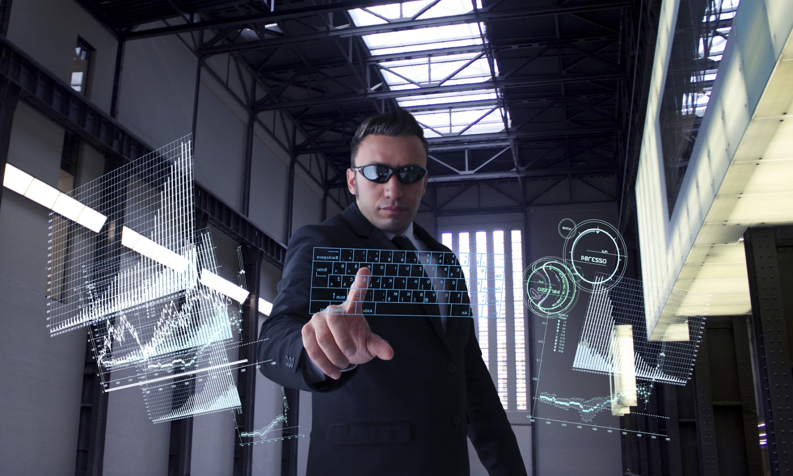 A man looking at big data analytics