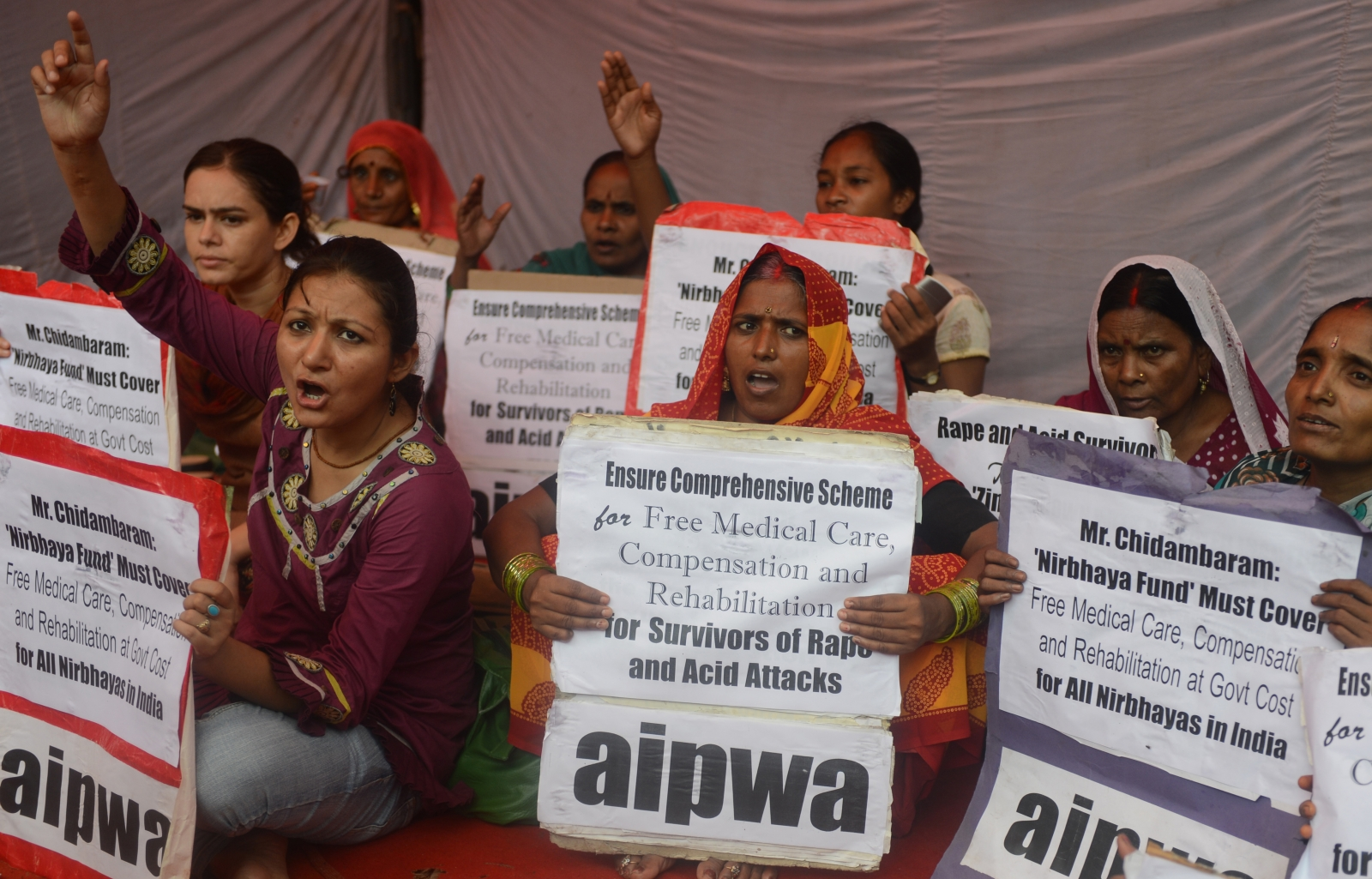 Acid attack protest