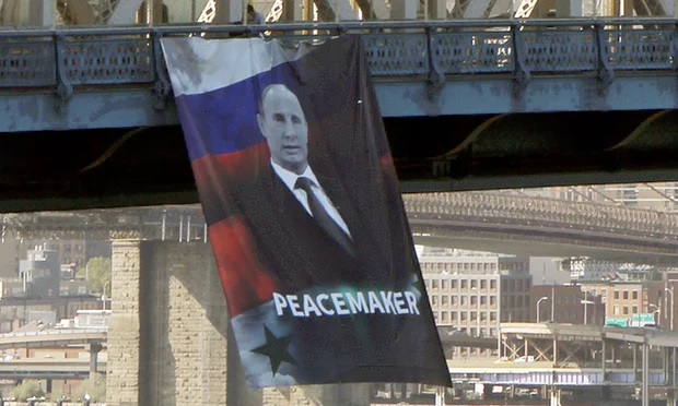 Banner of Russian President Vladimir Putin hung from Manhattan Bridge