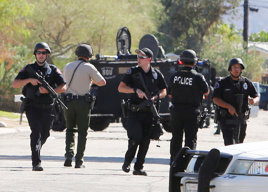 Officers at the scene Palm Springs shooting