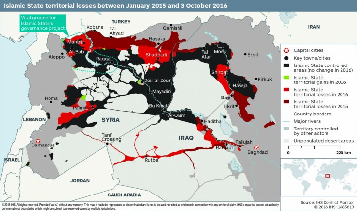 Isis / Daesh map October 2016