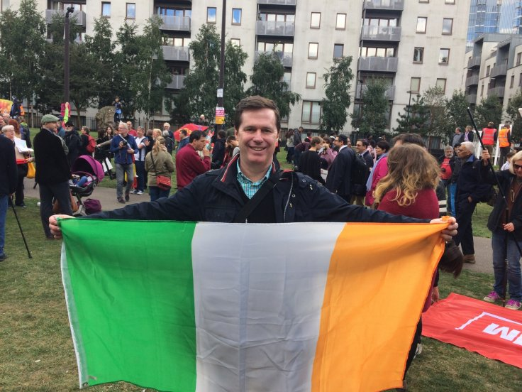 Austin Harney was at the rally representing the Irish community