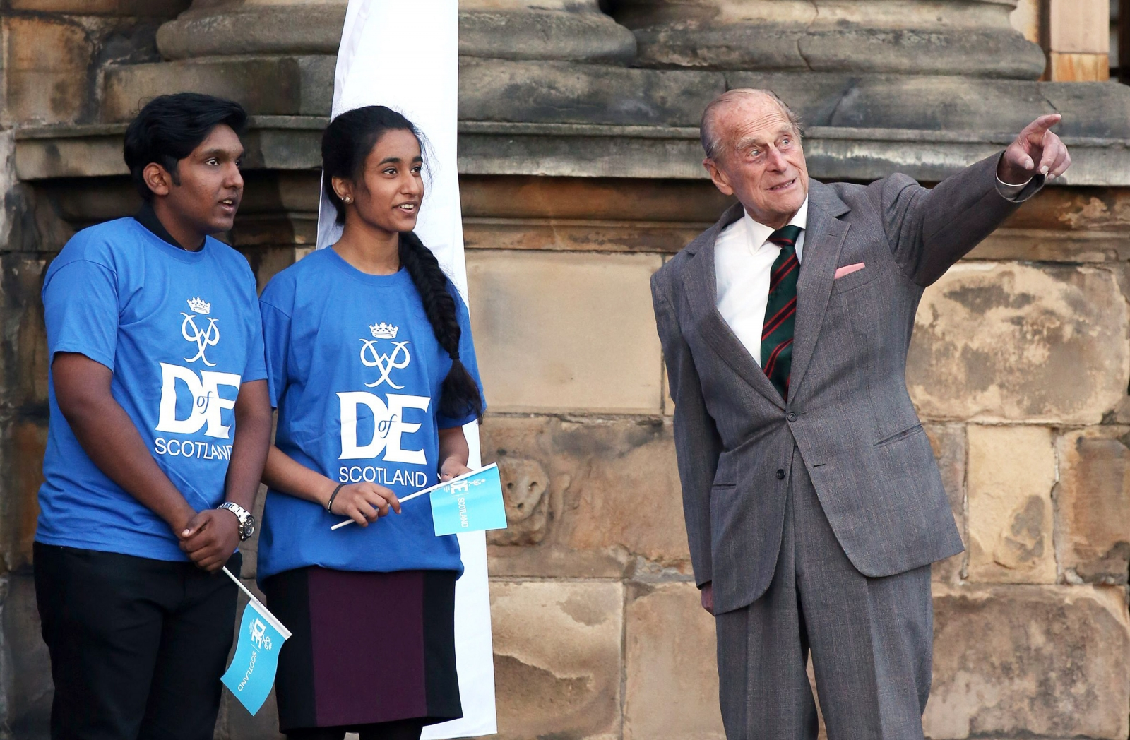 Prince Philip pointing