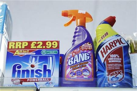 Products made by Reckitt Benckiser stand on a shelf in a store in Brighton