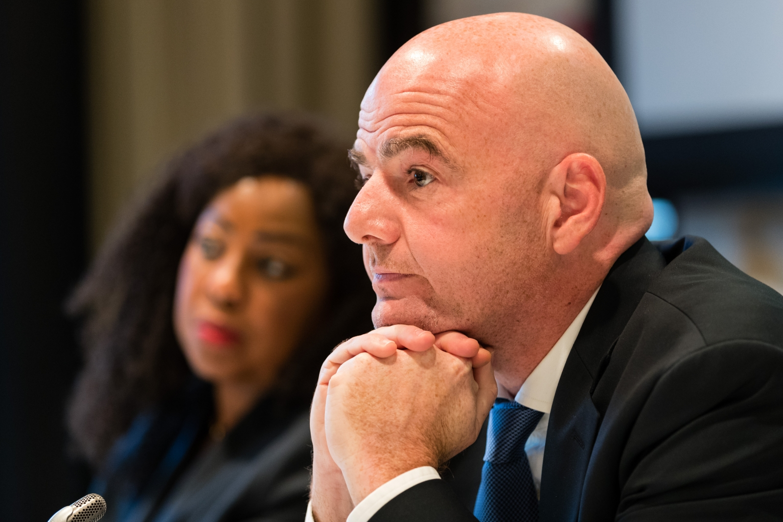 Fatma Samoura (left) and Gianni Infantino