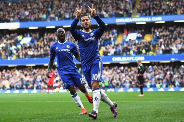 Eden Hazard celebrating his goal