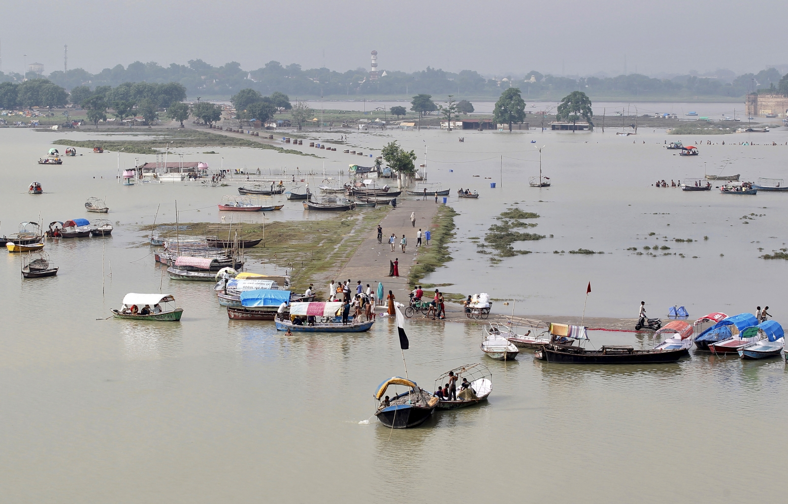 A view of a flooded road on the banks of river Ganga in Allahabad