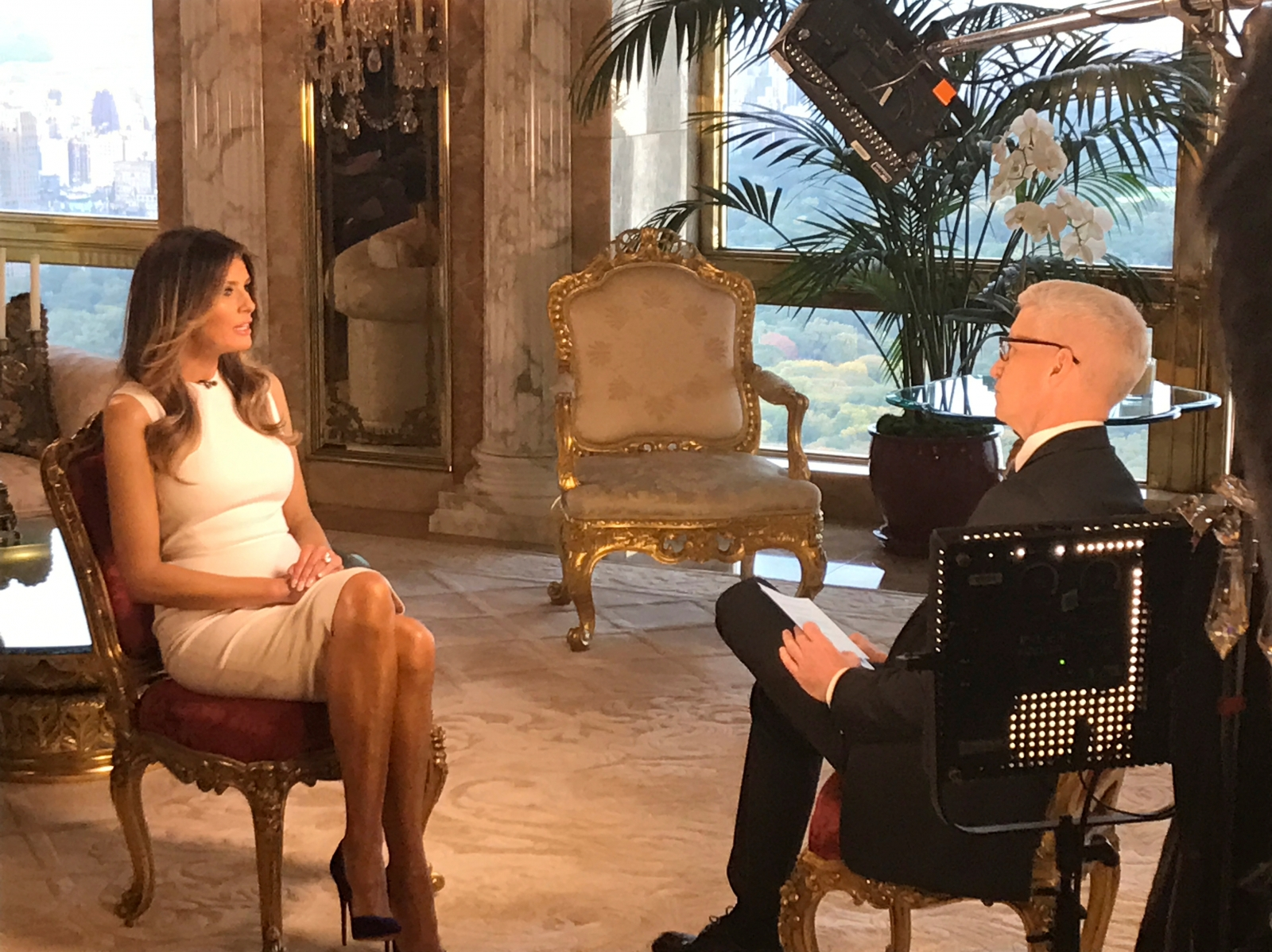 Melania Trump and Anderson Cooper