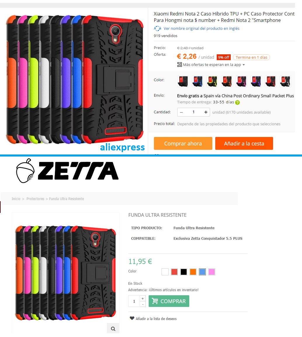 Xiaomi case on Aliexpress sold on Zetta