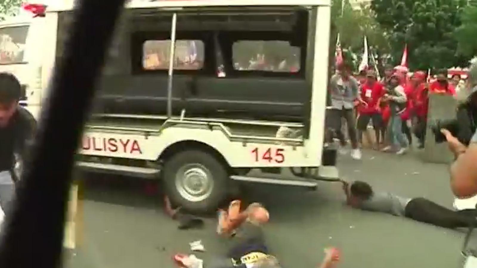 Police use van as battering ram