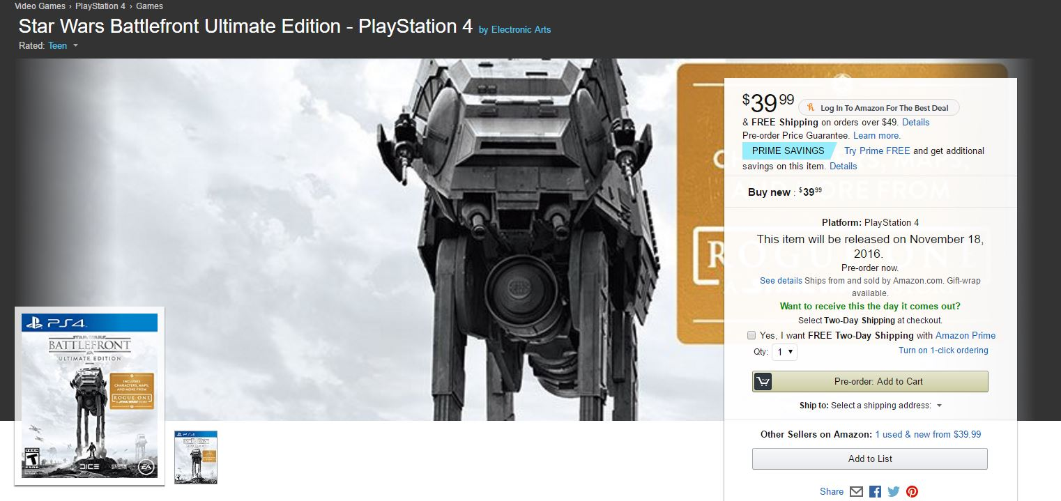 Amazon Star Wars Battlefront Ultimate Edition