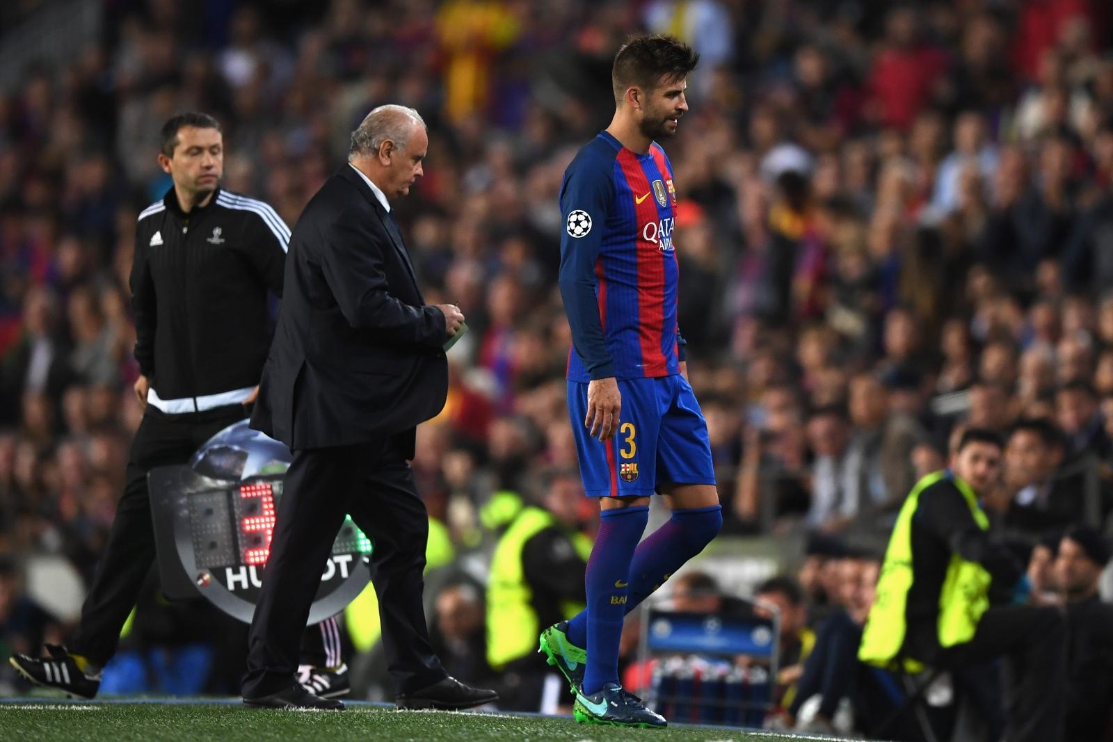 Gerard Pique will miss Barcelona's return trip Manchester City through injury