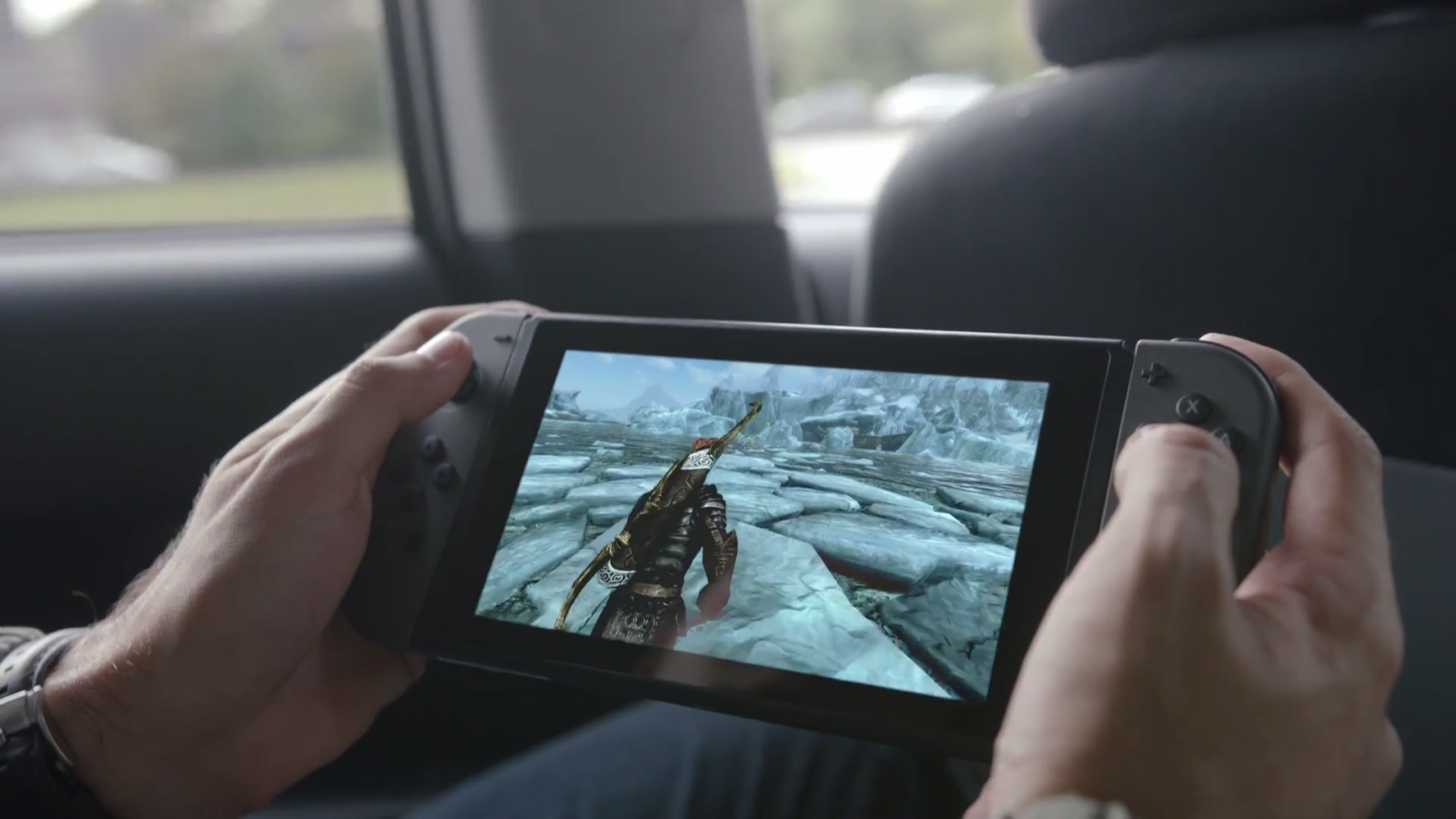 Skyrim being played on a Nintendo Switch
