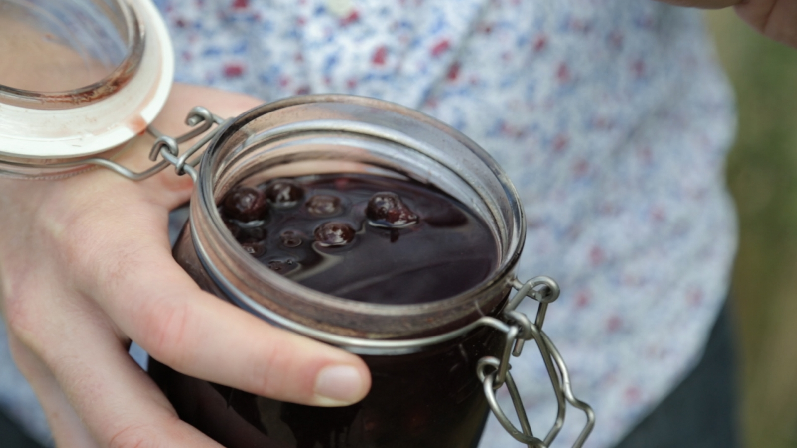 Sloe berries in gin