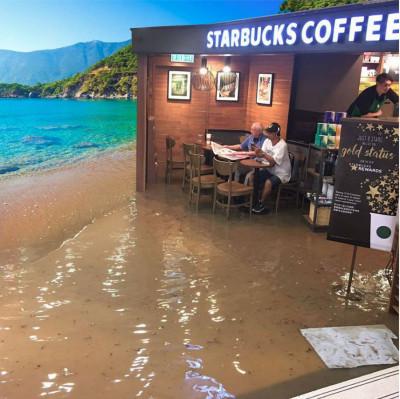 Old man Starbucks Hong Kong