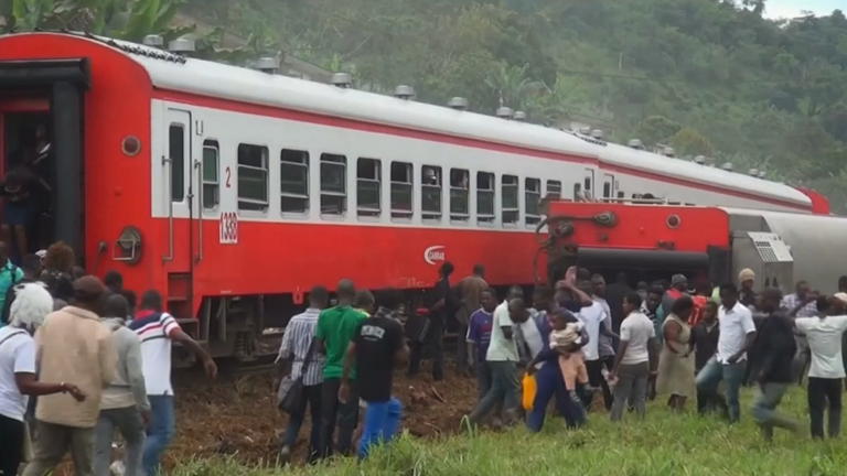 At least 55 people dead as overloaded train derails in Cameroon