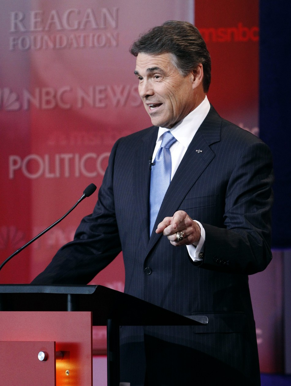 Texas Governor Rick Perry speaks druing the Reagan Centennial GOP presidential primary debate in Simi Valley
