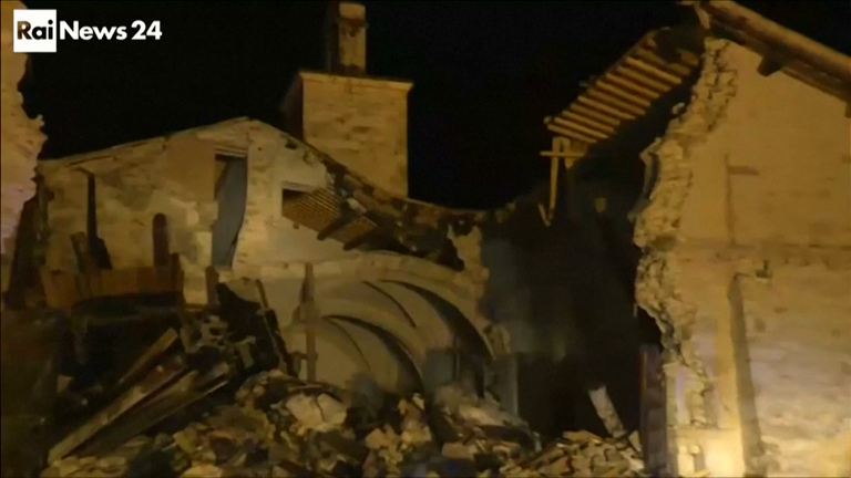 Church collapses after more earthquakes hit central Italy