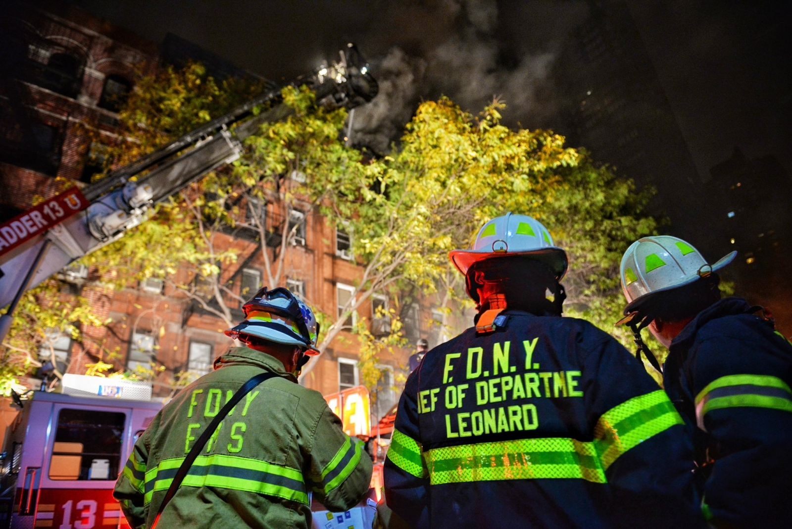 New York City firefighters tackle apartment blaze