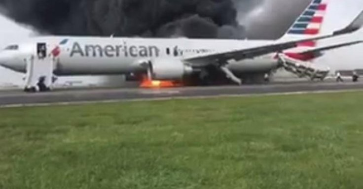 American Airlines flight in flames
