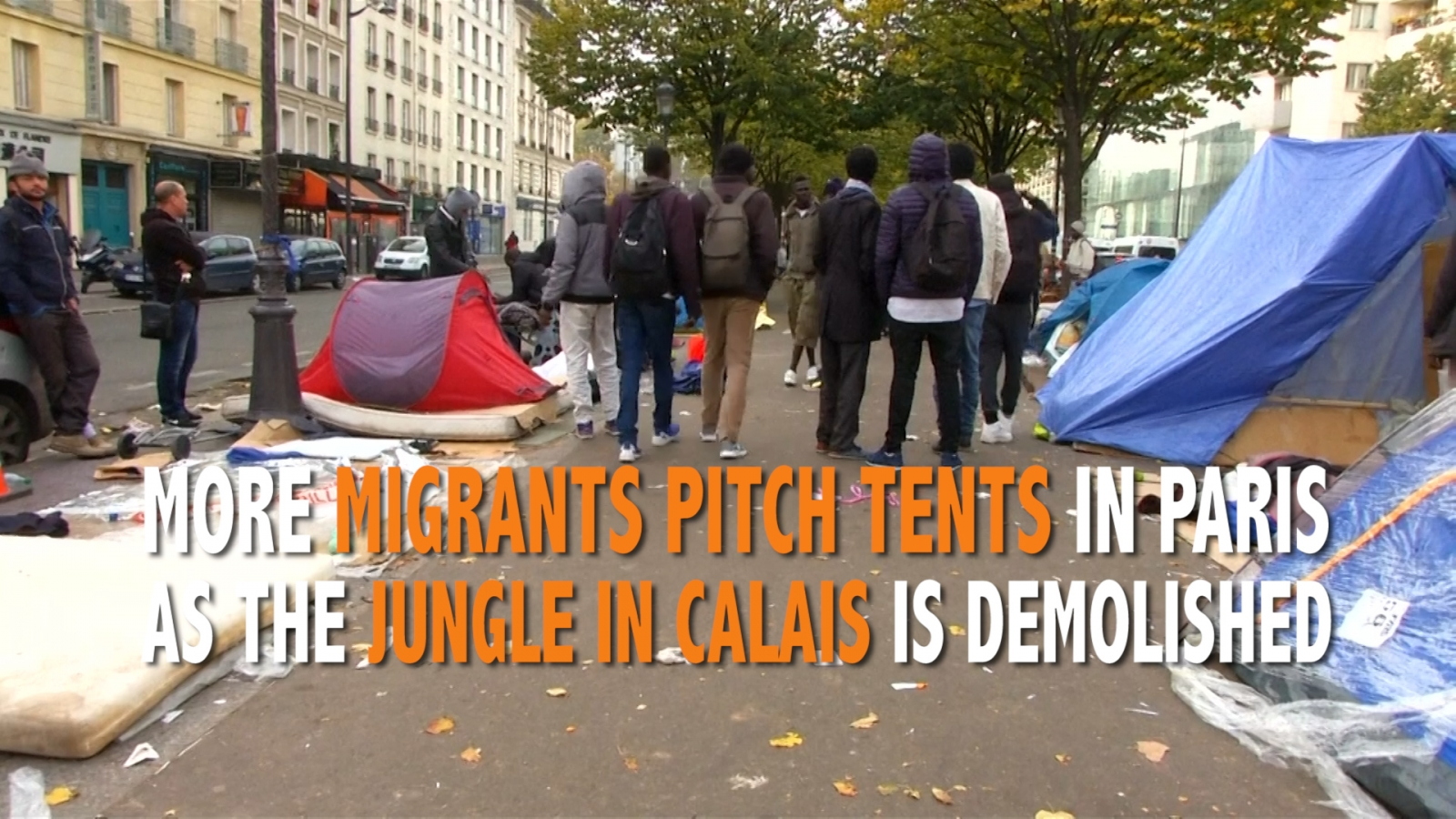 Migrants sleeping in tents in Paris