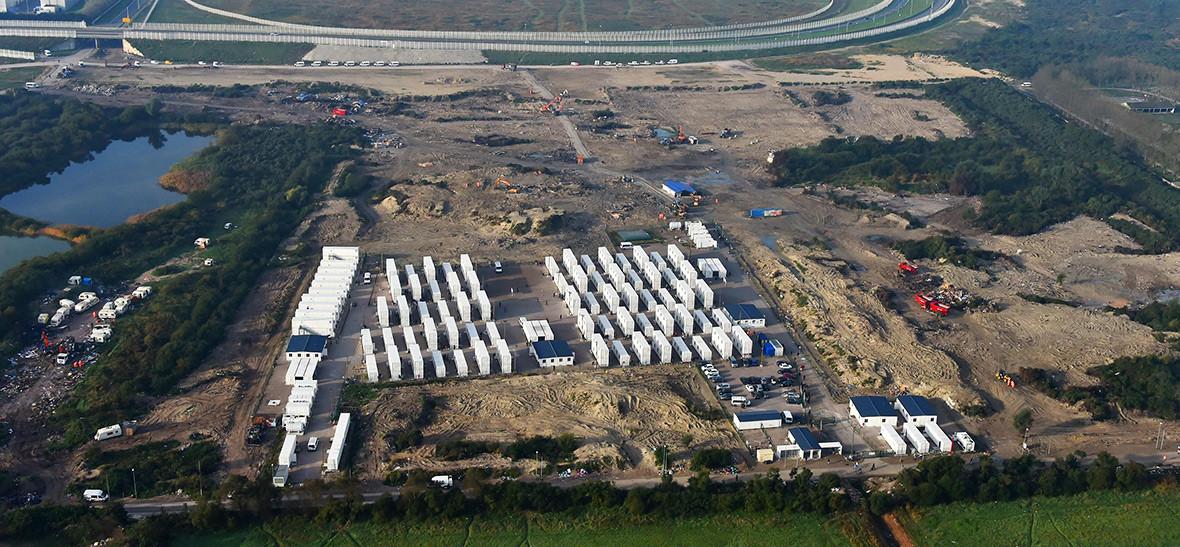 Calais Jungle camp migrants refugees aerial
