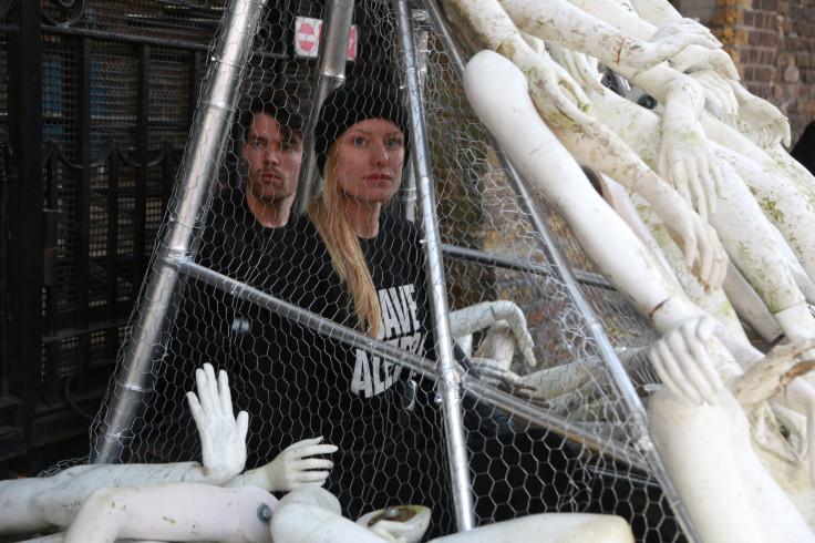 Peace activists blockade Russian Embassy