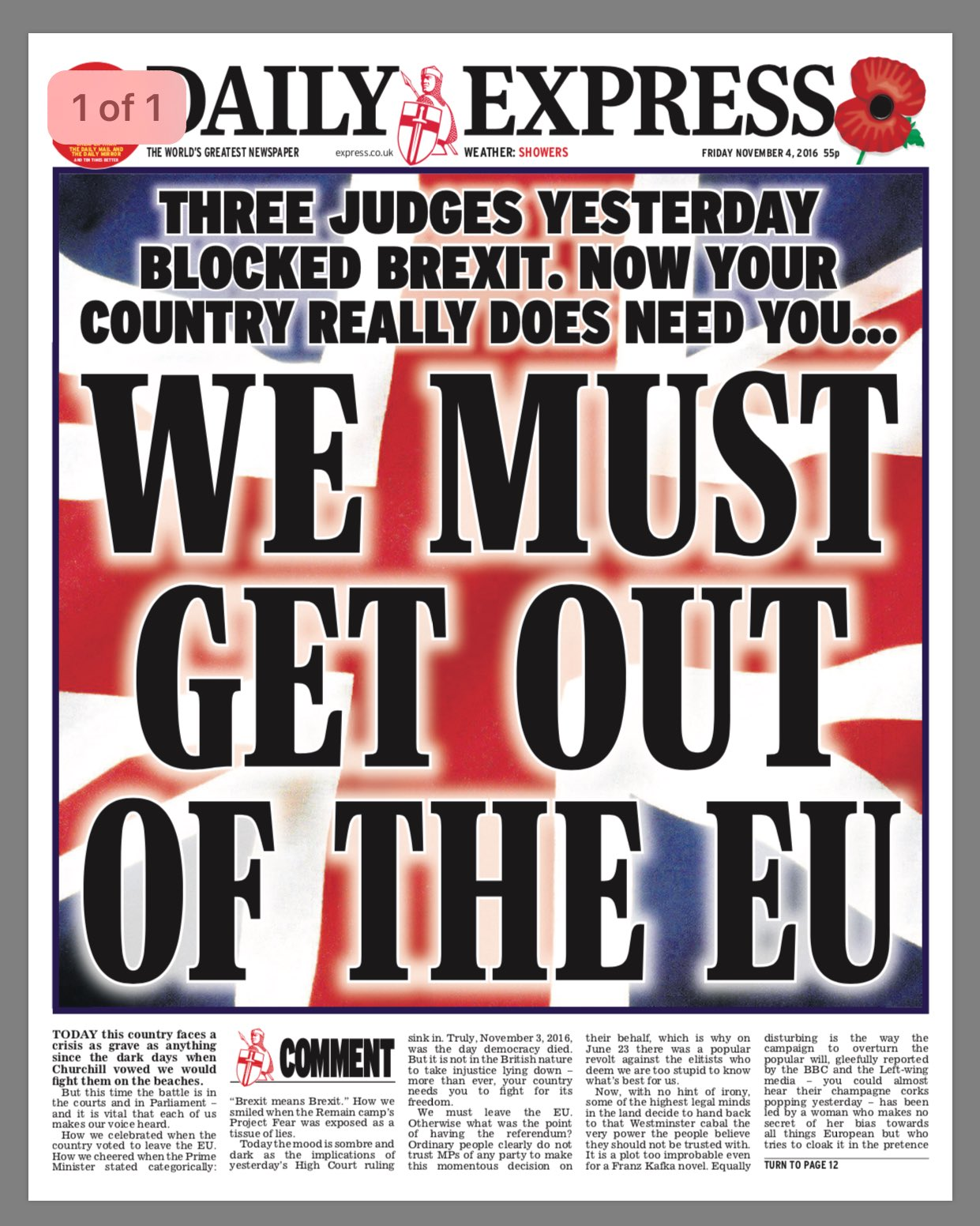 Express front page after High Court ruling