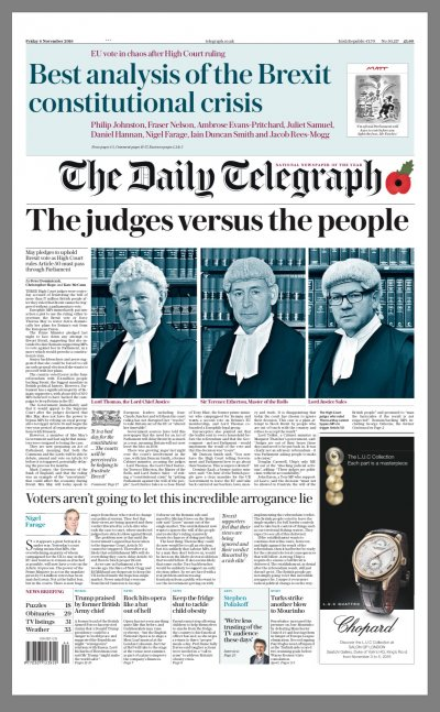 Telegraph front after high court ruling