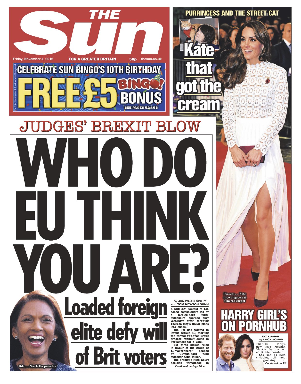 Sun front page after High Court ruling