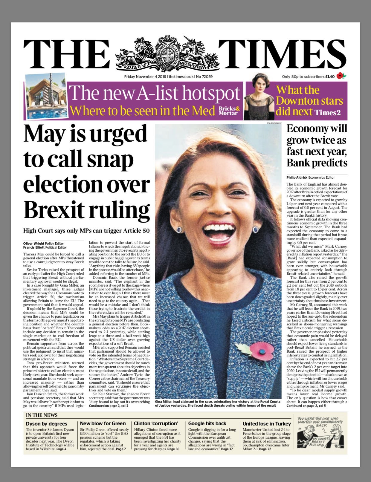 Times front page after High Court ruling