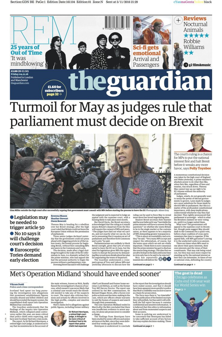 Guardian front page after High Court ruling