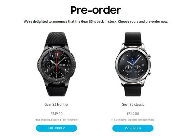 Gear S3 pre-orders resume in UK